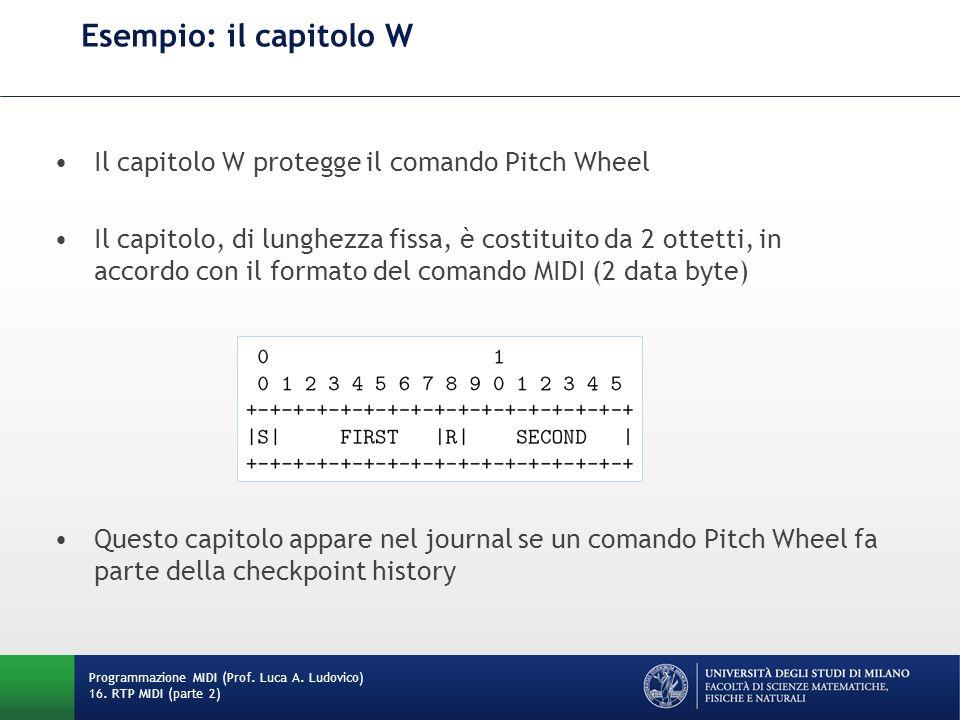 Esempio: il capitolo W Il capitolo W protegge il comando Pitch Wheel