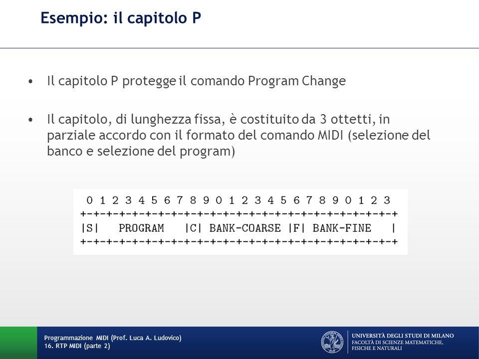 Esempio: il capitolo P Il capitolo P protegge il comando Program Change.