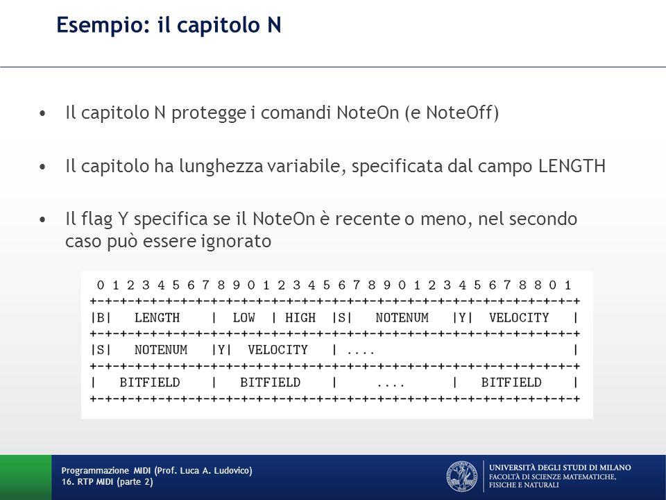Esempio: il capitolo N Il capitolo N protegge i comandi NoteOn (e NoteOff) Il capitolo ha lunghezza variabile, specificata dal campo LENGTH.