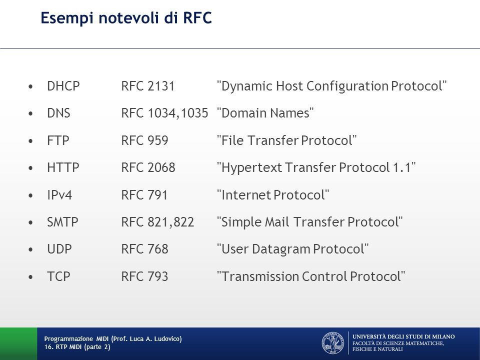 Esempi notevoli di RFC DHCP RFC 2131 Dynamic Host Configuration Protocol DNS RFC 1034,1035 Domain Names