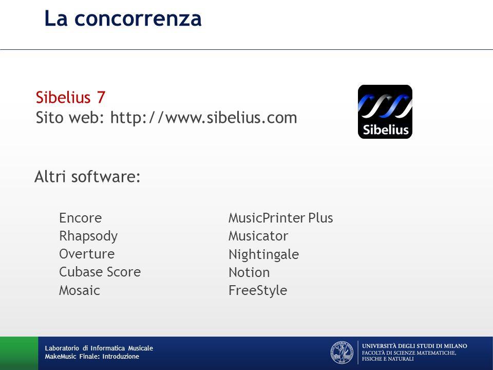 La concorrenza Sibelius 7 Sito web: http://www.sibelius.com