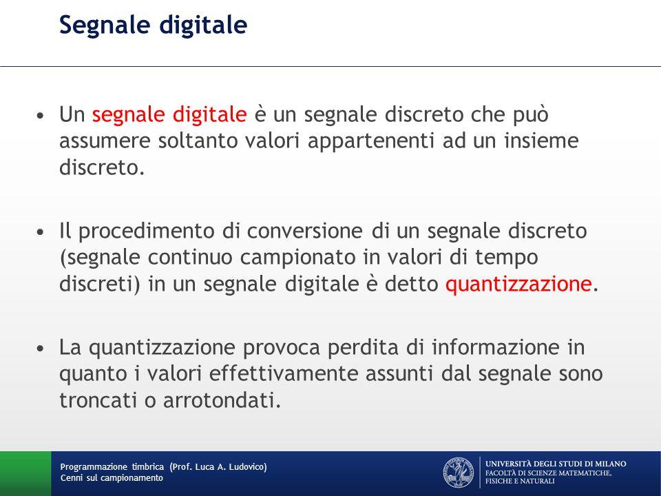 Segnale digitale Un segnale digitale è un segnale discreto che può assumere soltanto valori appartenenti ad un insieme discreto.