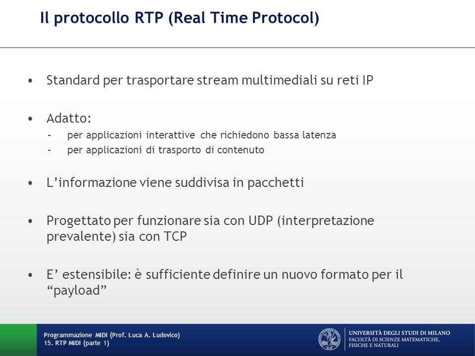 Il protocollo RTP (Real Time Protocol)