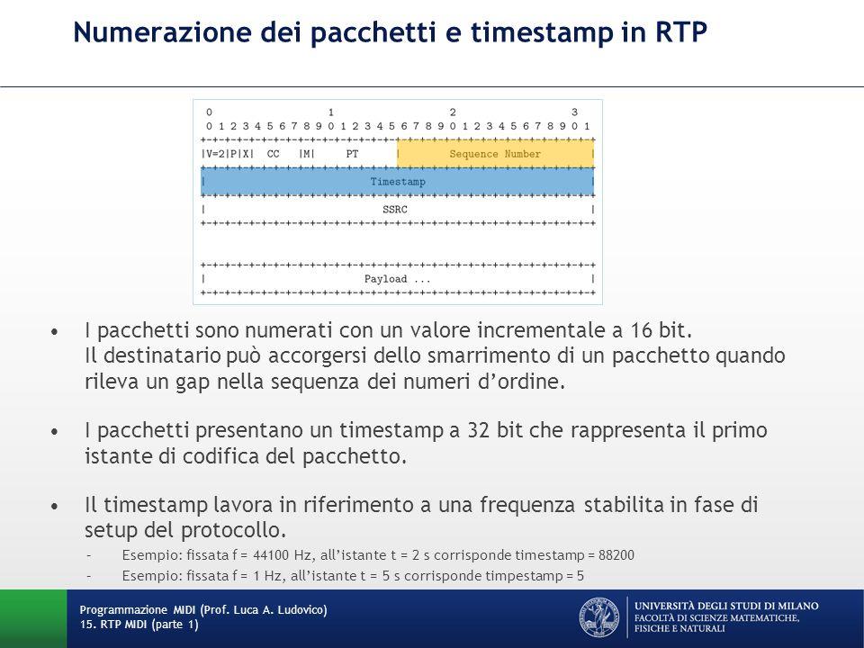Numerazione dei pacchetti e timestamp in RTP