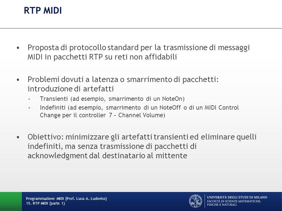 RTP MIDI Proposta di protocollo standard per la trasmissione di messaggi MIDI in pacchetti RTP su reti non affidabili.