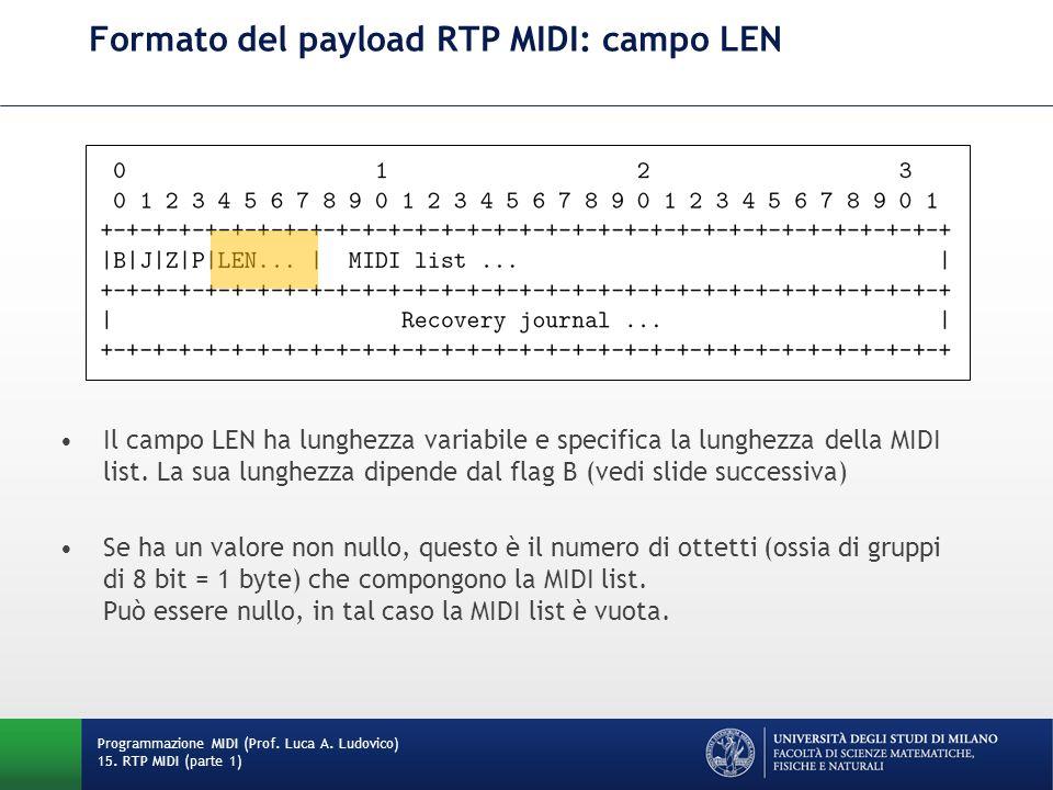 Formato del payload RTP MIDI: campo LEN