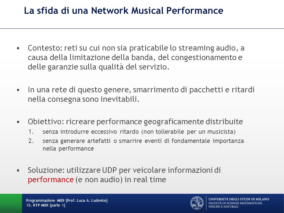La sfida di una Network Musical Performance