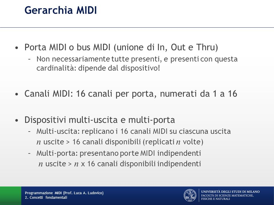 Gerarchia MIDI Porta MIDI o bus MIDI (unione di In, Out e Thru)