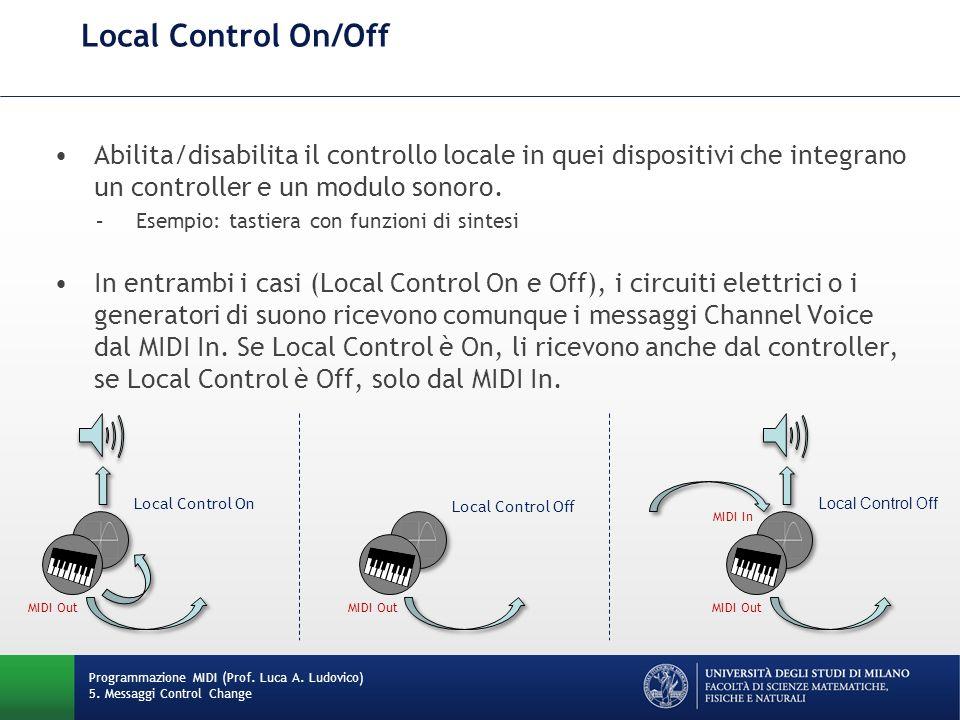 Local Control On/Off Abilita/disabilita il controllo locale in quei dispositivi che integrano un controller e un modulo sonoro.