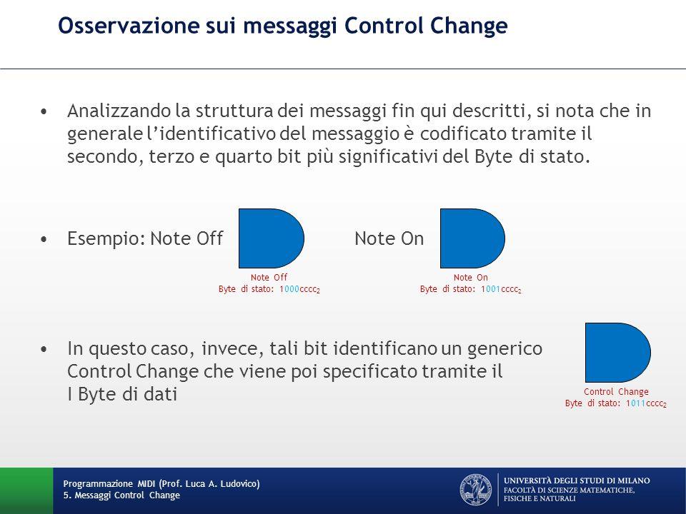Osservazione sui messaggi Control Change