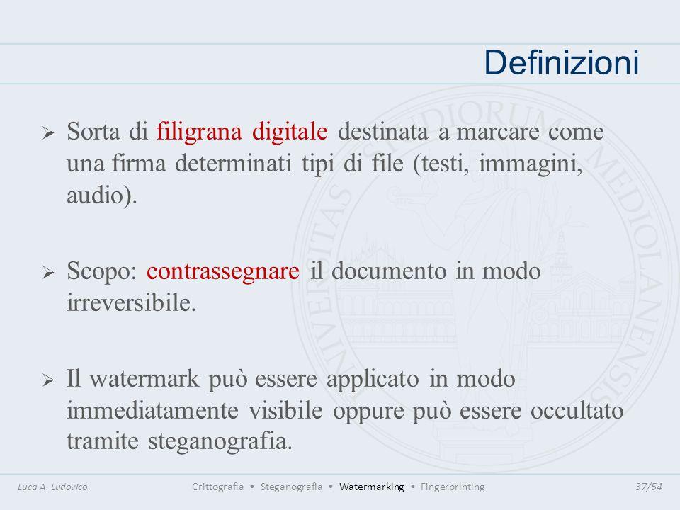 DefinizioniSorta di filigrana digitale destinata a marcare come una firma determinati tipi di file (testi, immagini, audio).