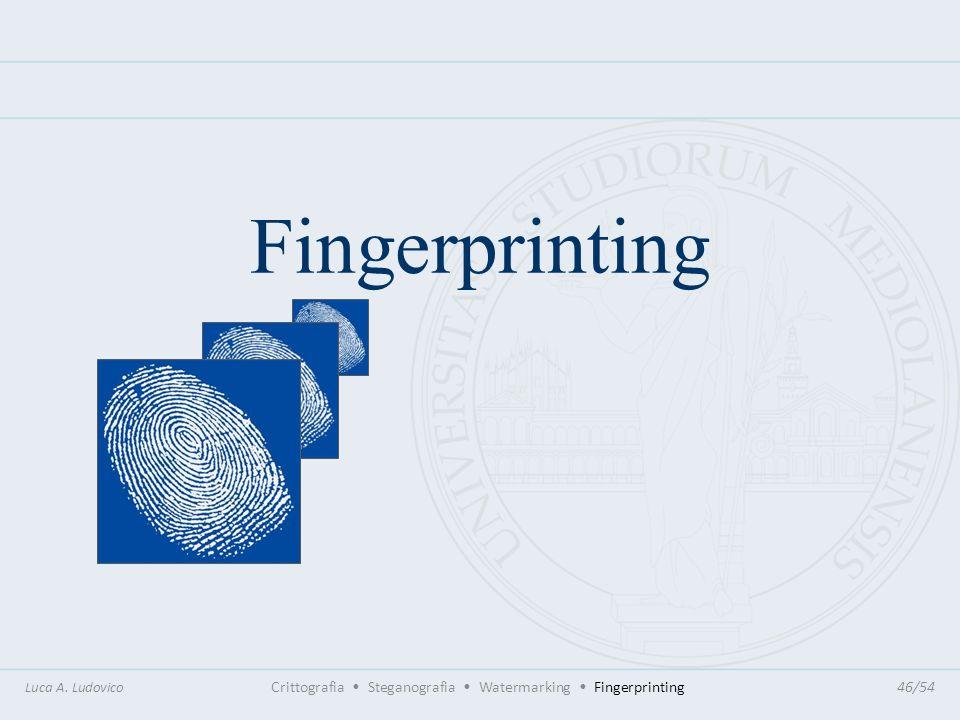 FingerprintingLuca A. Ludovico Crittografia • Steganografia • Watermarking • Fingerprinting 46/54.