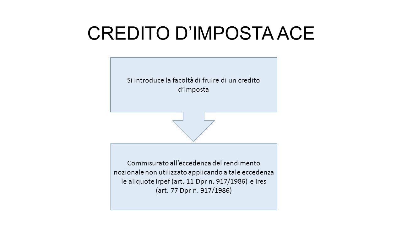 Si introduce la facoltà di fruire di un credito d'imposta