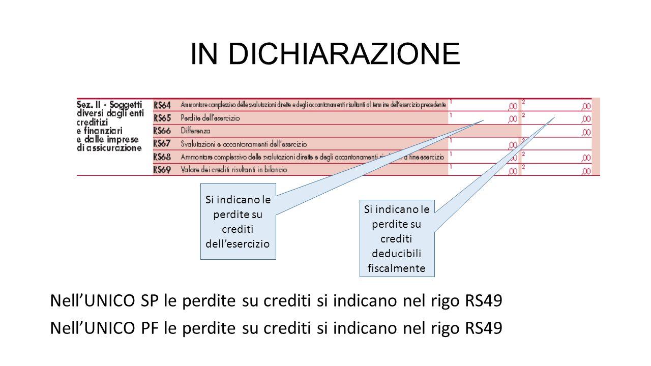 IN DICHIARAZIONE Nell'UNICO SP le perdite su crediti si indicano nel rigo RS49 Nell'UNICO PF le perdite su crediti si indicano nel rigo RS49