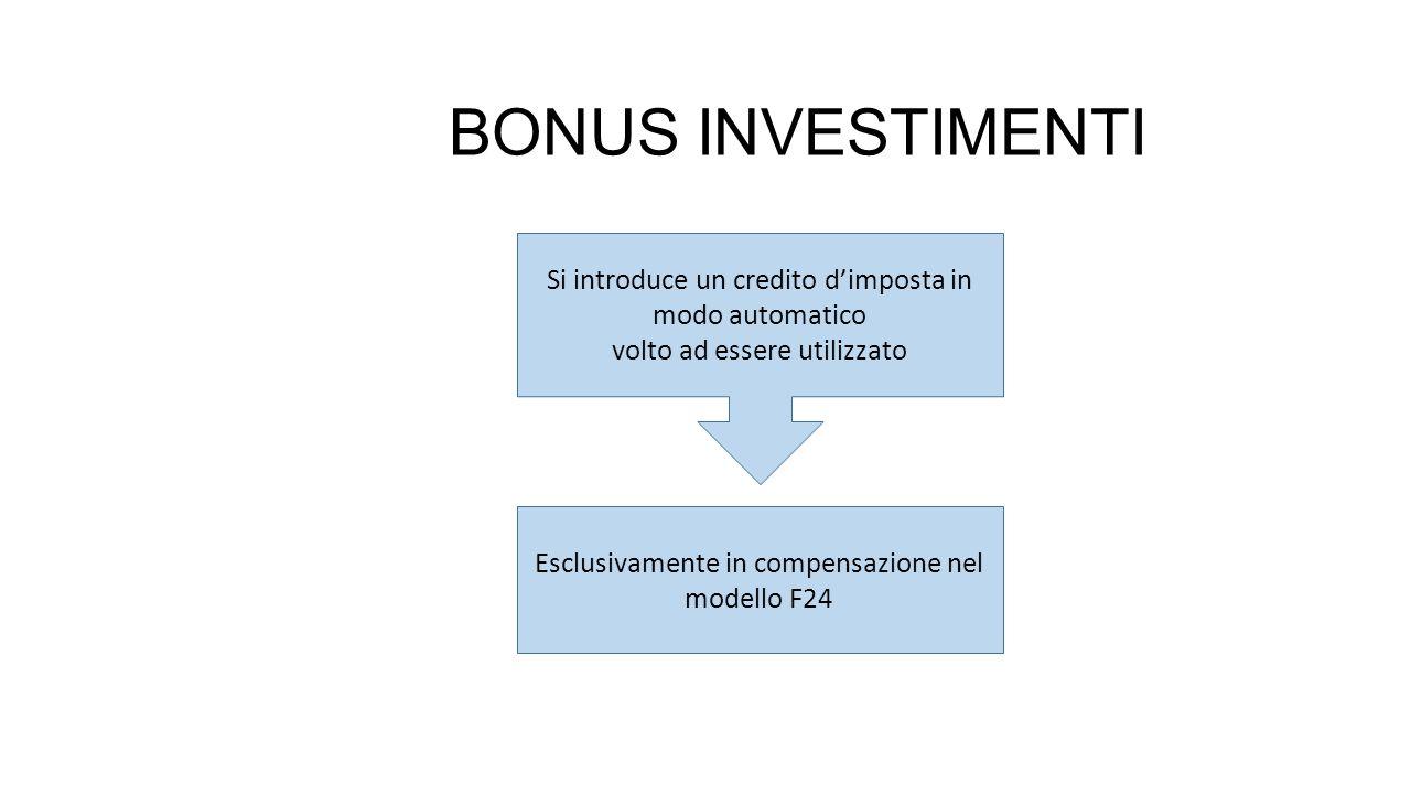 BONUS INVESTIMENTI Si introduce un credito d'imposta in modo automatico. volto ad essere utilizzato.