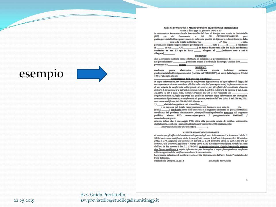esempio 22.05.2015 Avv. Guido Previatello - avvpreviatello@studilegaliriunitimgp.it