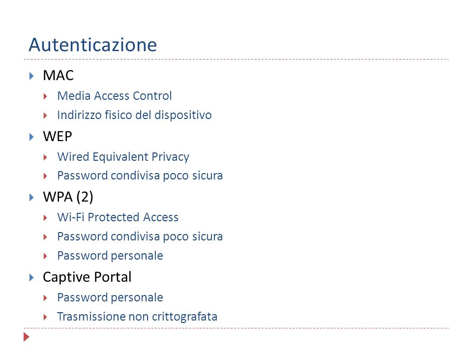 Autenticazione MAC WEP WPA (2) Captive Portal Media Access Control