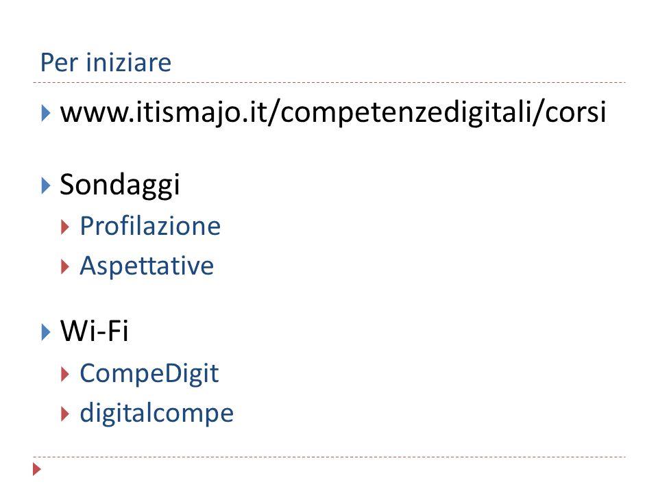 www.itismajo.it/competenzedigitali/corsi Sondaggi Wi-Fi Per iniziare