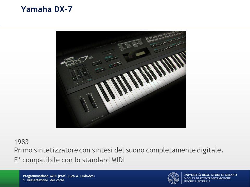 Yamaha DX-7 1983 Primo sintetizzatore con sintesi del suono completamente digitale. E' compatibile con lo standard MIDI.