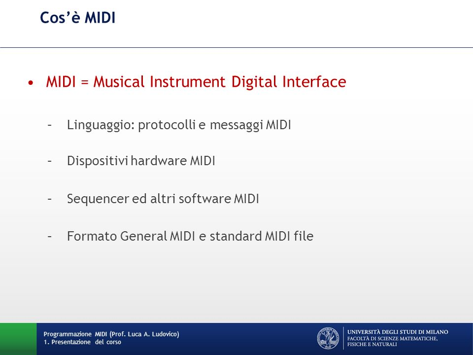 MIDI = Musical Instrument Digital Interface