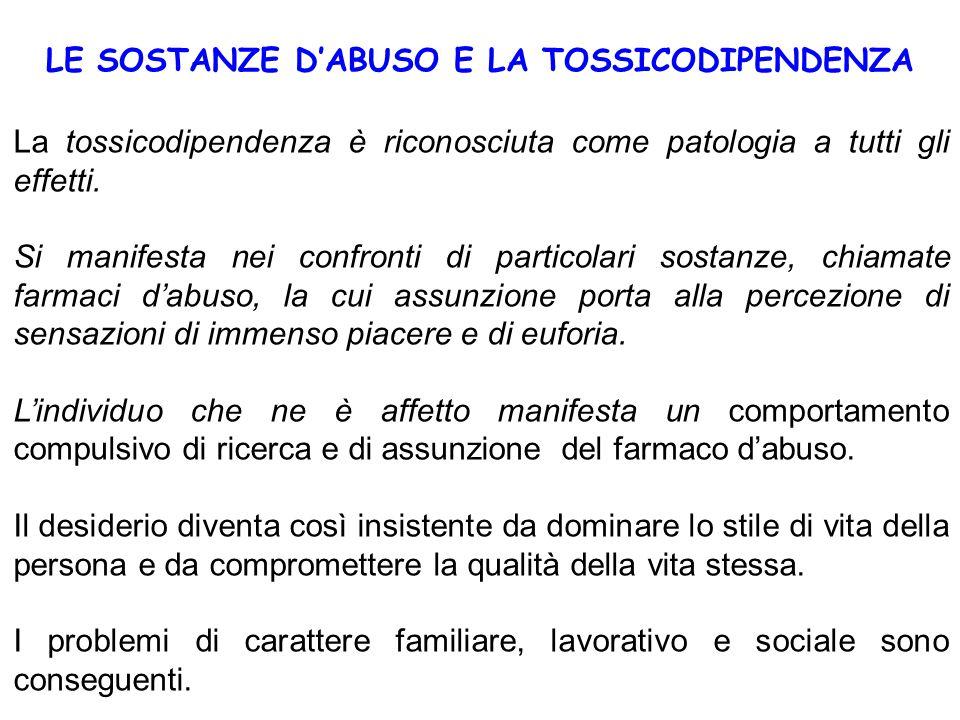 LE SOSTANZE D'ABUSO E LA TOSSICODIPENDENZA