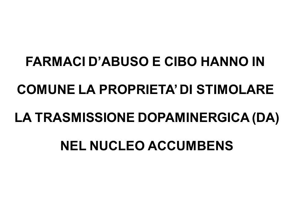 FARMACI D'ABUSO E CIBO HANNO IN COMUNE LA PROPRIETA' DI STIMOLARE