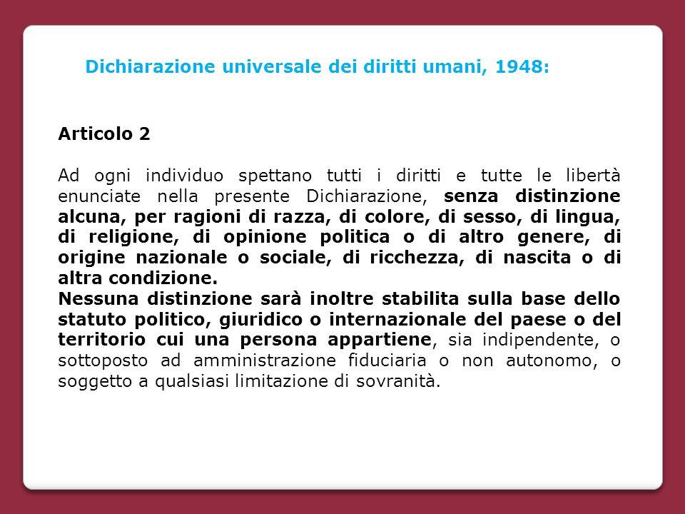 Dichiarazione universale dei diritti umani, 1948: