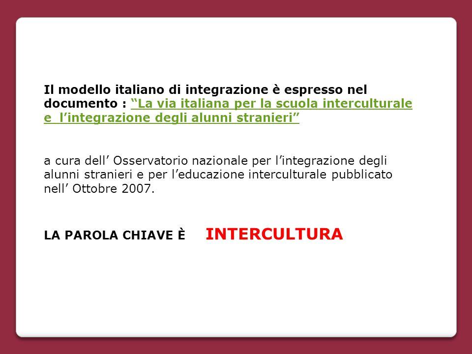 Il modello italiano di integrazione è espresso nel documento : La via italiana per la scuola interculturale e l'integrazione degli alunni stranieri