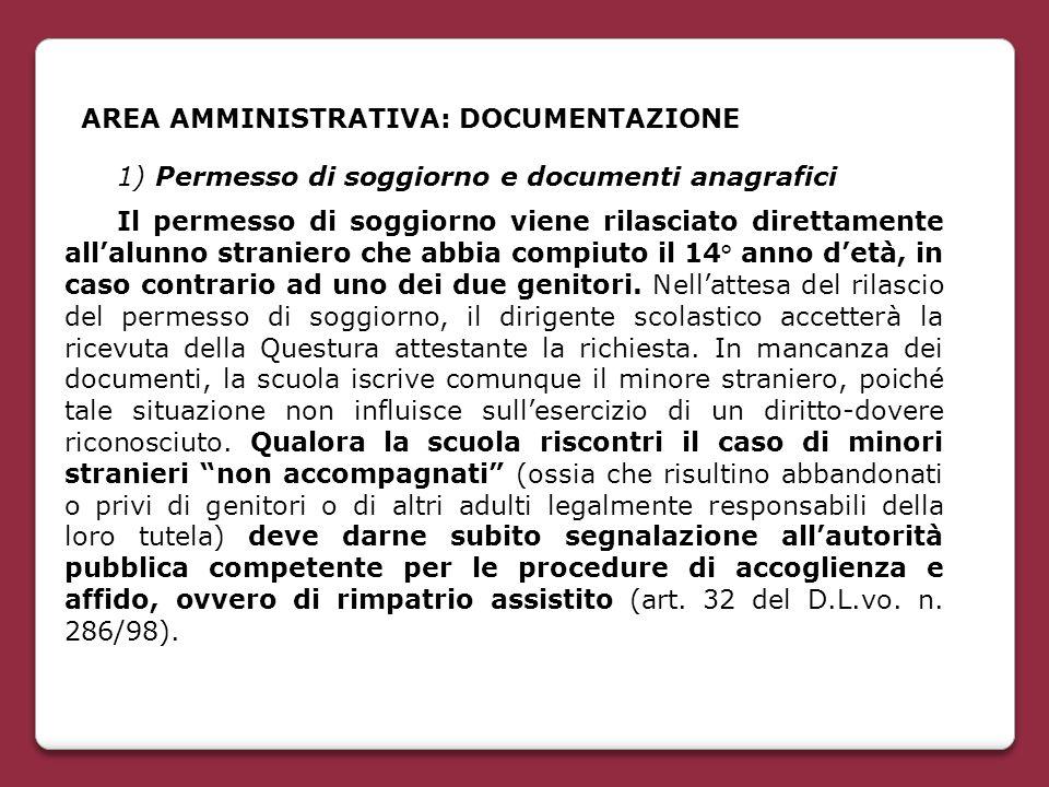 AREA AMMINISTRATIVA: DOCUMENTAZIONE