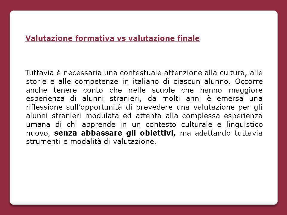 Valutazione formativa vs valutazione finale