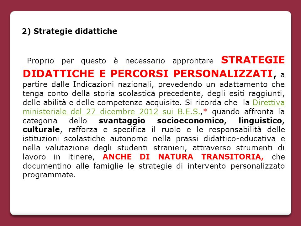 2) Strategie didattiche