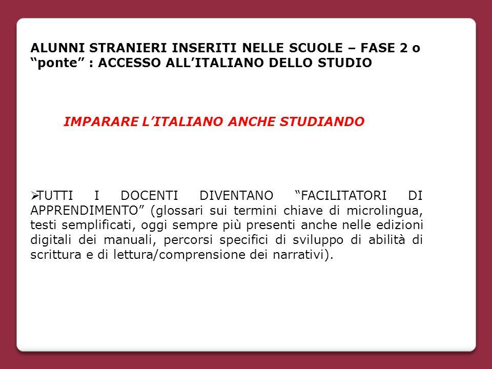 ALUNNI STRANIERI INSERITI NELLE SCUOLE – FASE 2 o ponte : ACCESSO ALL'ITALIANO DELLO STUDIO