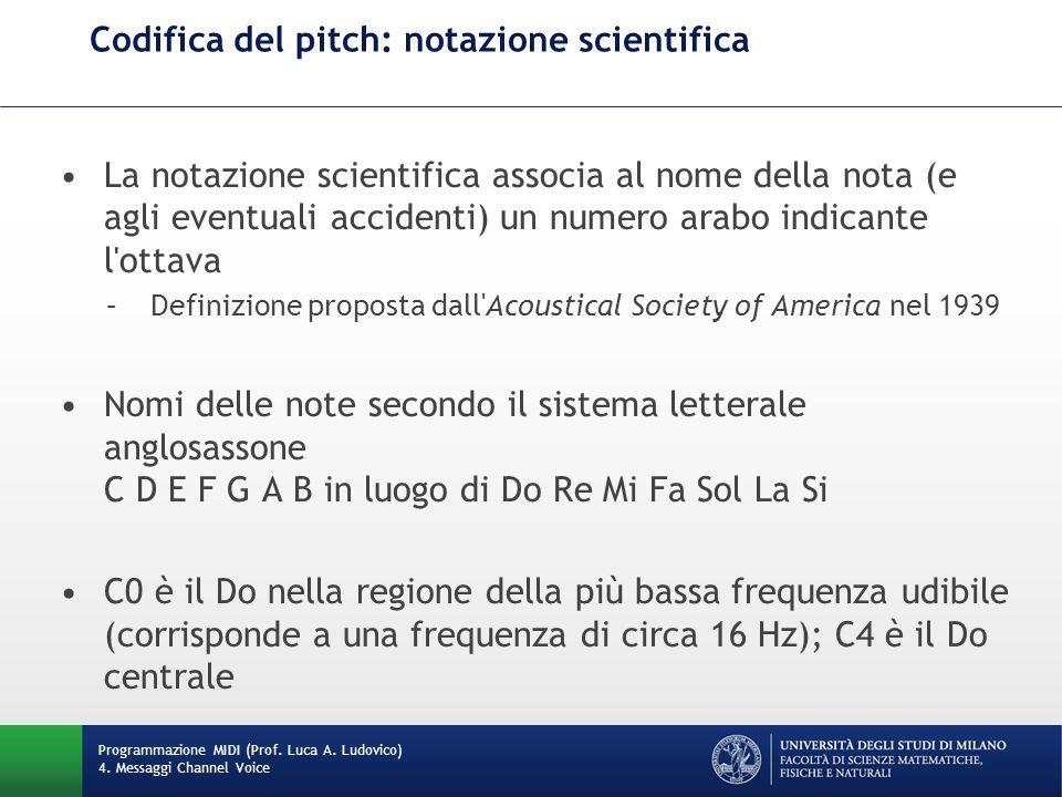 Codifica del pitch: notazione scientifica