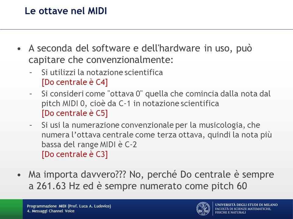 Le ottave nel MIDI A seconda del software e dell hardware in uso, può capitare che convenzionalmente: