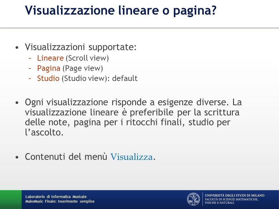Visualizzazione lineare o pagina
