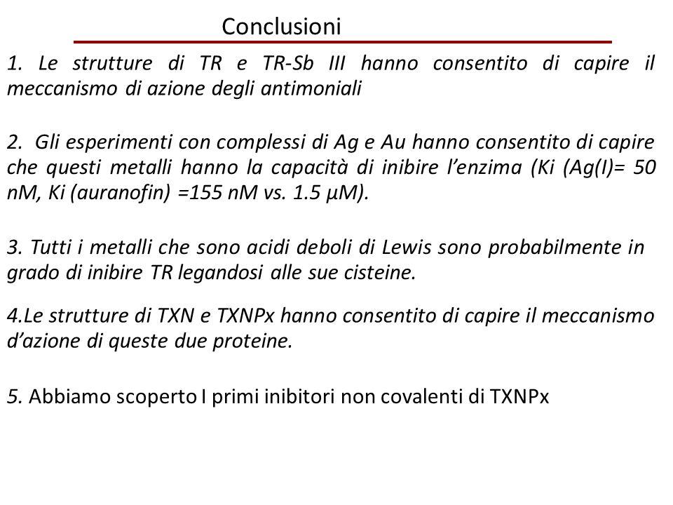 Conclusioni 1. Le strutture di TR e TR-Sb III hanno consentito di capire il meccanismo di azione degli antimoniali.