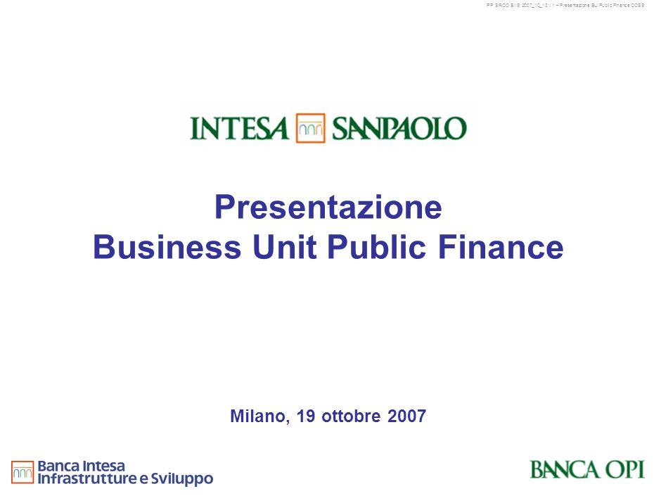 Presentazione Business Unit Public Finance