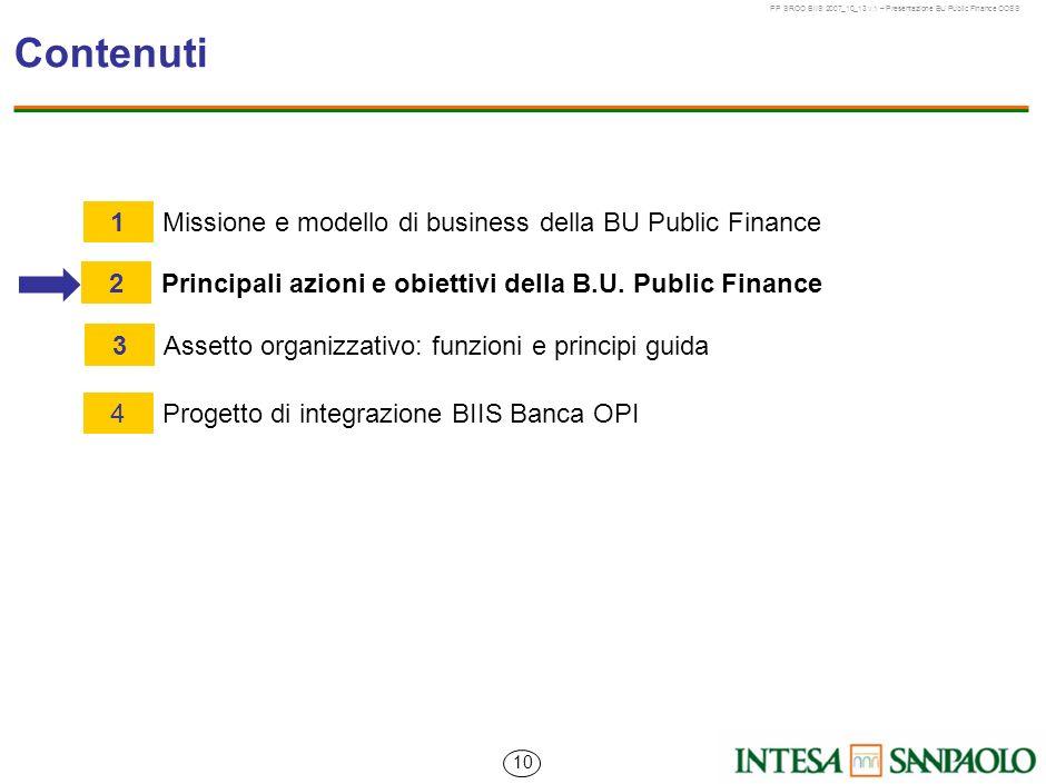 Contenuti 1 Missione e modello di business della BU Public Finance 2