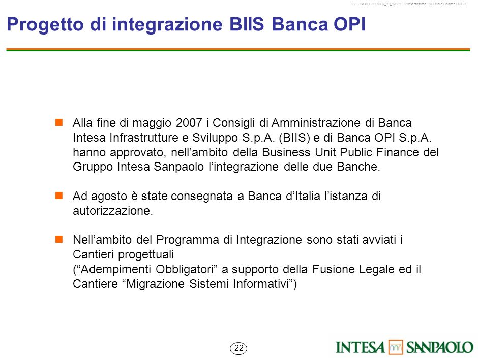 Progetto di integrazione BIIS Banca OPI