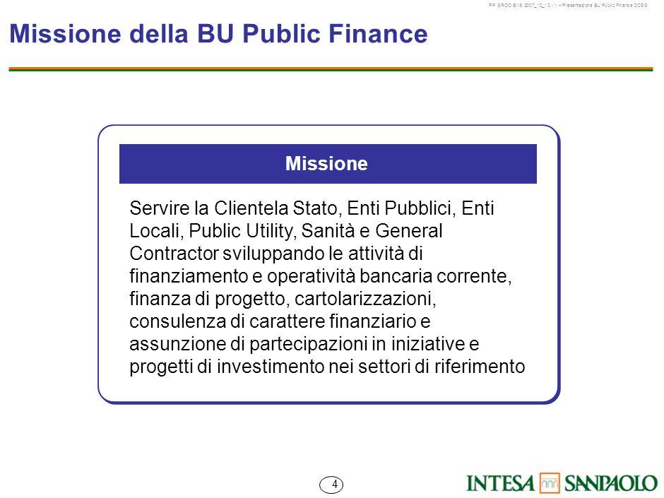 Missione della BU Public Finance