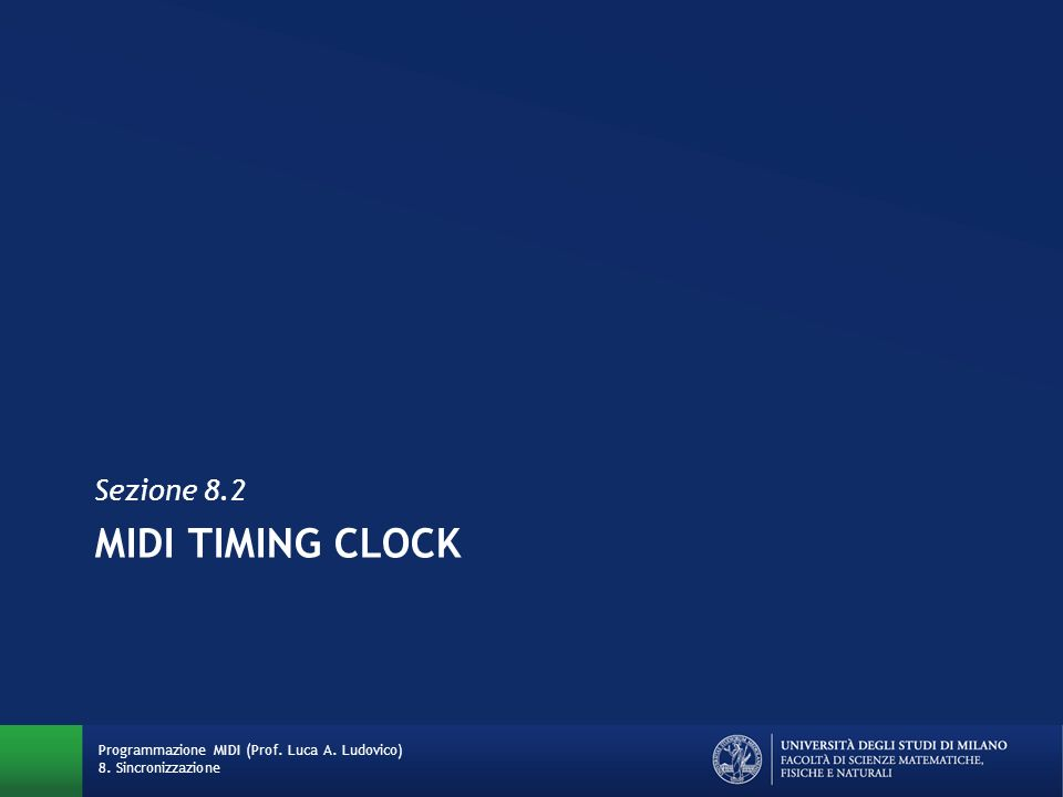 MIDI TIMING CLOCK Sezione 8.2