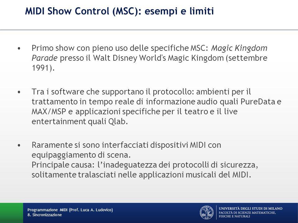 MIDI Show Control (MSC): esempi e limiti