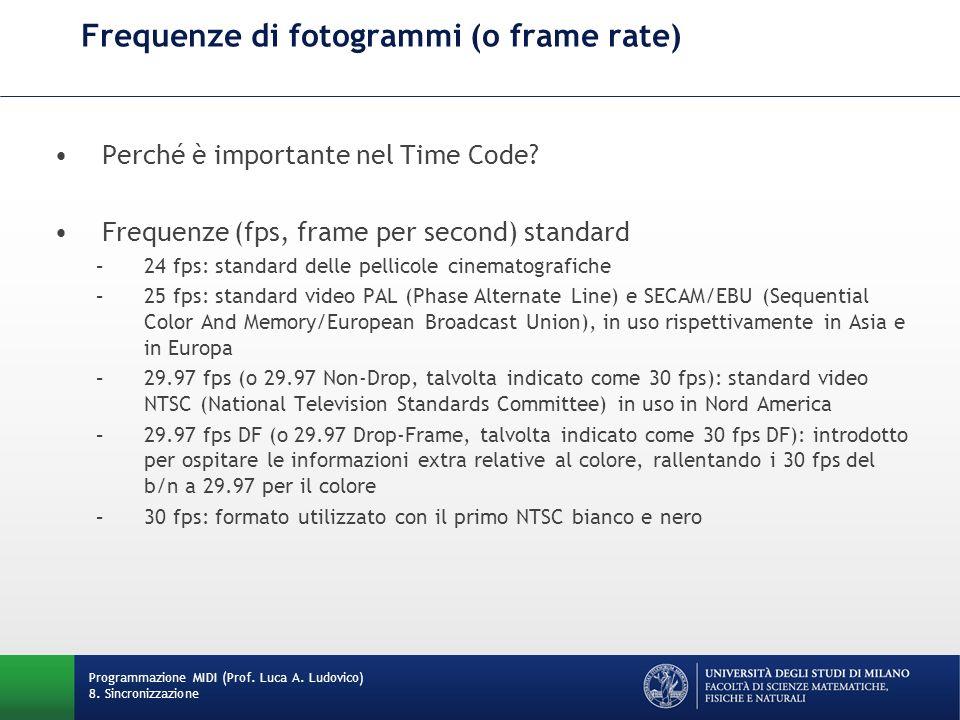 Frequenze di fotogrammi (o frame rate)