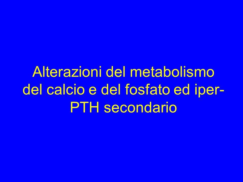 Alterazioni del metabolismo del calcio e del fosfato ed iper-PTH secondario