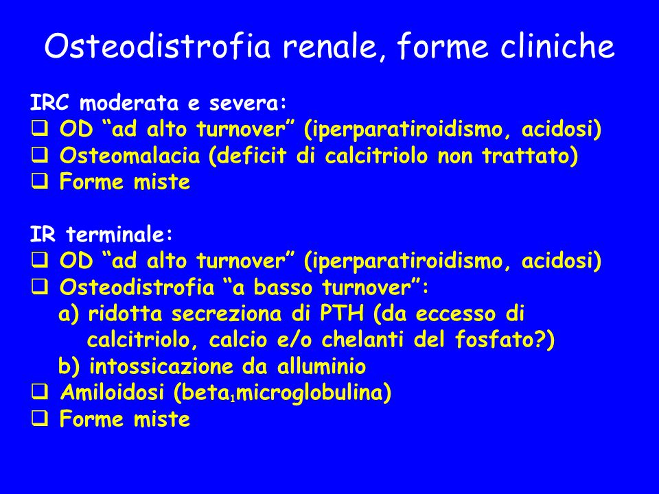 Osteodistrofia renale, forme cliniche