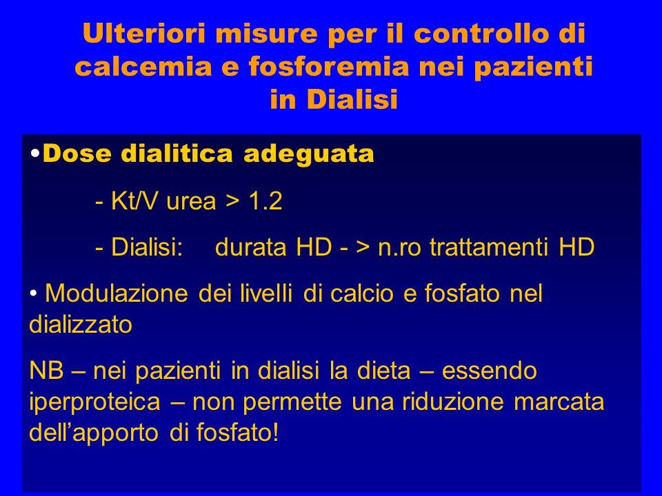 Ulteriori misure per il controllo di calcemia e fosforemia nei pazienti in Dialisi