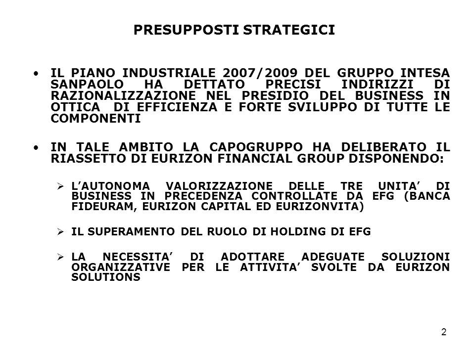 PRESUPPOSTI STRATEGICI