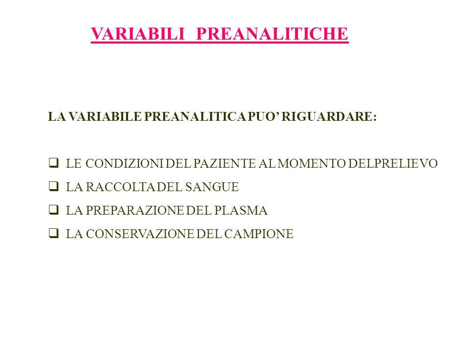 VARIABILI PREANALITICHE