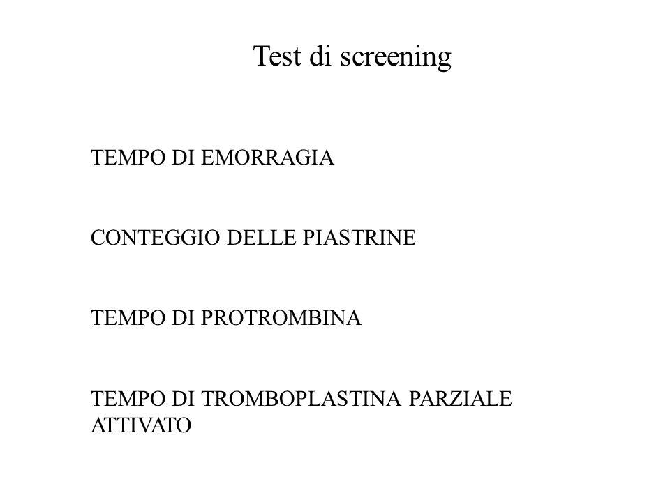 Test di screening TEMPO DI EMORRAGIA CONTEGGIO DELLE PIASTRINE