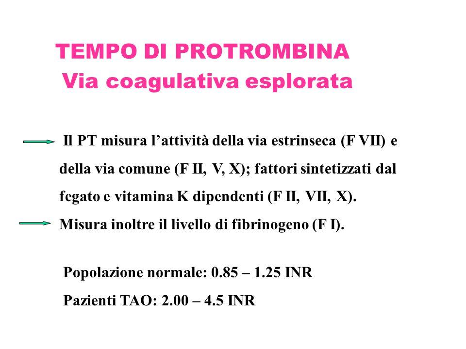 TEMPO DI PROTROMBINA Via coagulativa esplorata